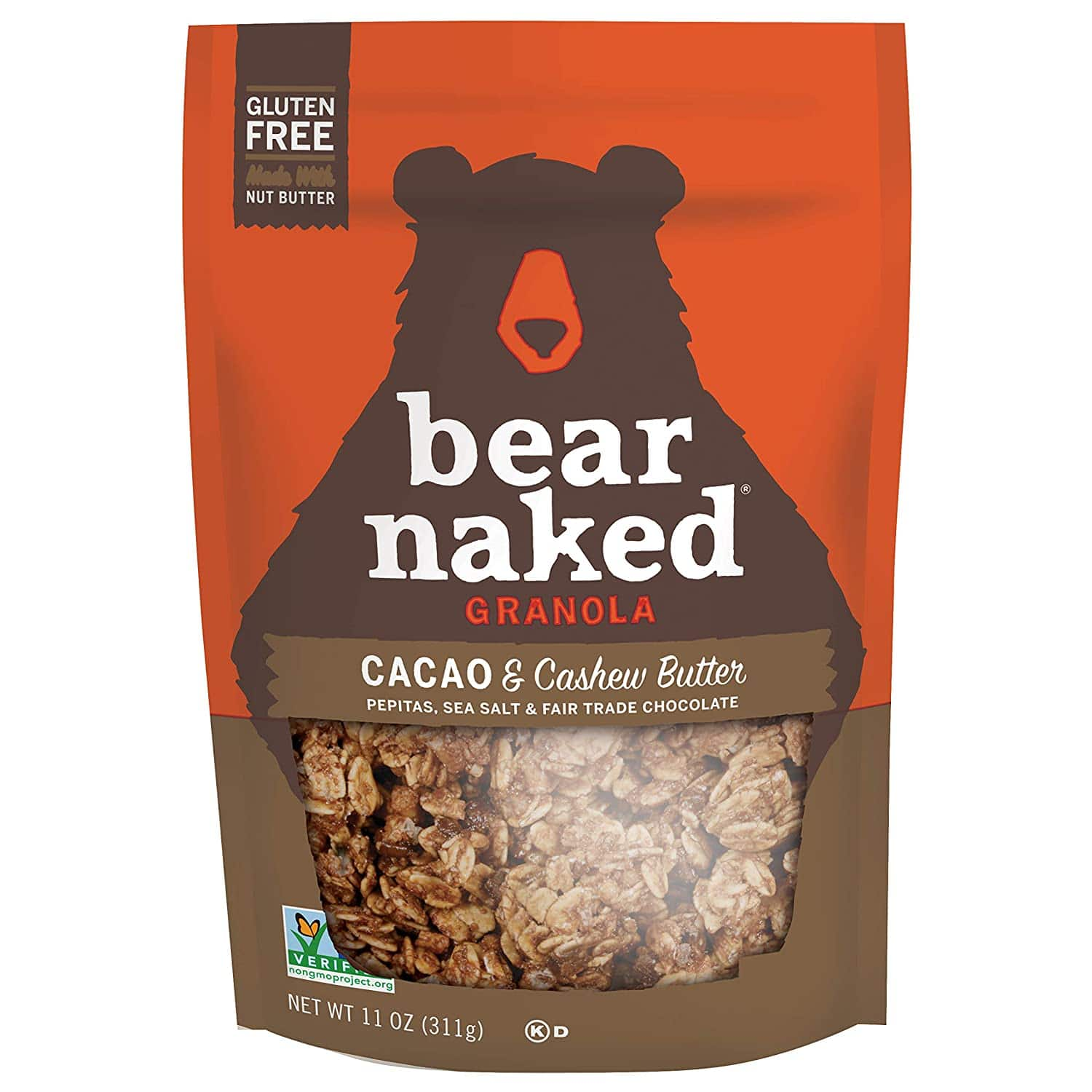 Bear naked cacao and cashew butter granola vegan snack review