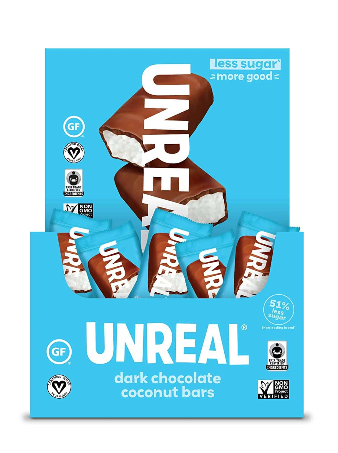unreal dark chocolate coconut bars vegan snack review